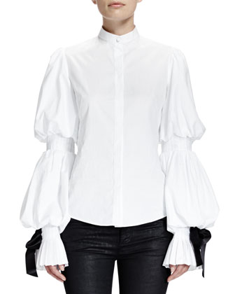 Alexander McQueen Puffed Sleeve Blouse w/ Ribbon Cuffs, White