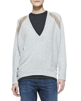 Brunello Cucinelli Long-Sleeve Deep-V Sweater with Sequin Shoulder