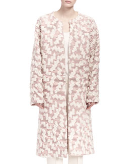 Chloe Embroidered Maxi Coat with Belt