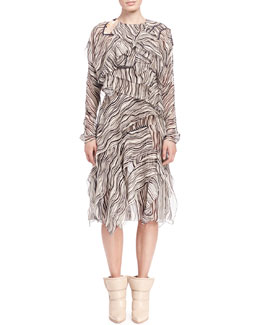 Chloe Long-Sleeve Wave-Print Dress