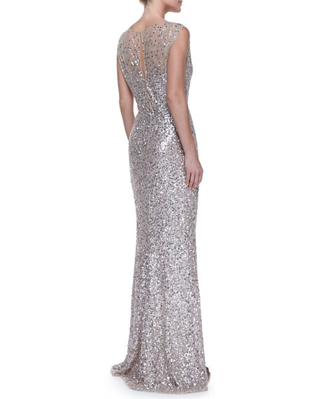 Beaded & Sequined Gown, Silver/Nude