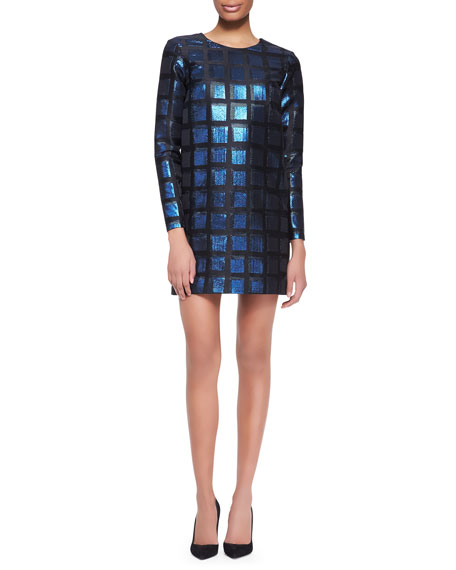 Long-Sleeve Shimmery Square Dress