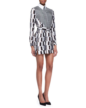 Kenzo White Noise Printed Shirtdress