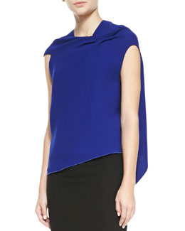 Roland Mouret Eugene Sleeveless Dramatic Drape-Back Top