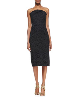 Roland Mouret Electra Lace-Embroidered Strapless Dress