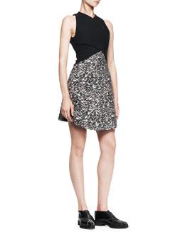 Proenza Schouler Wrap-Front Jacquard Combo Dress