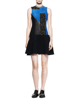 Proenza Schouler Patchwork-Front Combo Dress