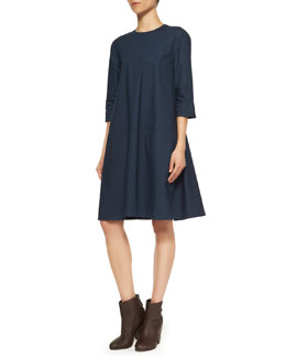 Acne Studios Pari 3/4-Sleeve A-Line Dress, Dark Navy