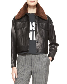 3.1 Phillip Lim Western Leather Jacket with Removable Fur Collar