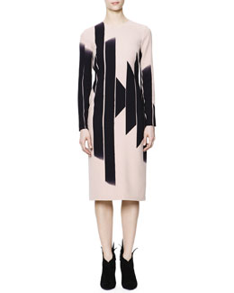 Bottega Veneta Long-Sleeve Vertical Block Lines-Print Dress