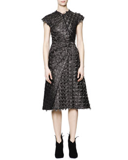 Bottega Veneta Cap-Sleeve Wavy Rhombus-Texture Dress, Black/White