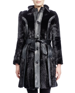 Saint Laurent Mid-Length Marmot Fur Coat, Noir