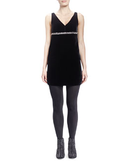 Saint Laurent Velvet V-Neck Crystal-Empire-Waist Dress