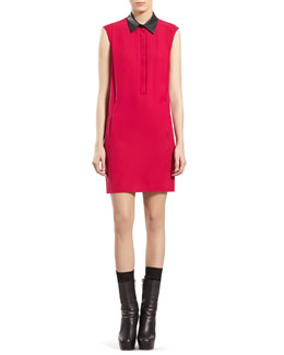 Gucci Fuchsia Silk Dress with Leather Collar