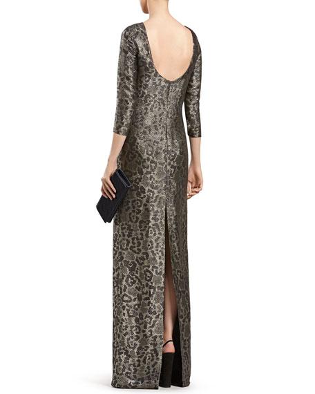 Metallic Leopard-Print Gown