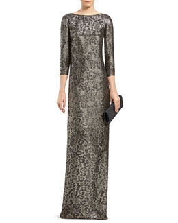 Gucci Metallic Leopard-Print Gown
