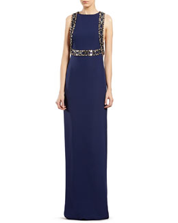 Gucci Blue Embroidered Sleeveless Gown