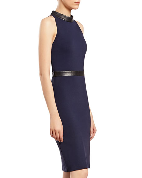 Blue Stretch Jersey Halter Dress