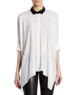 Silk Satin Georgette Cape Shirt