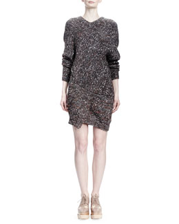 Stella McCartney Long-Sleeve V-Neck Chunky Sweaterdress