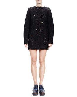Stella McCartney Jewel-Neck Crochet-Embroidered Dress, Black