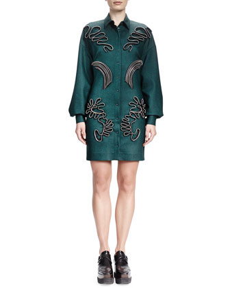 Stella McCartney Long-Sleeve Zip-Applique Shirtdress, Emerald