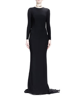 Stella McCartney Long-Sleeve Gown with Fringe-Covered Open Back