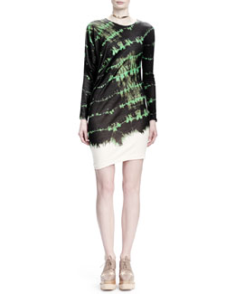Stella McCartney Long-Sleeve Crewneck Tie-Dye Dress
