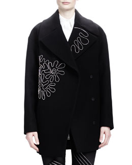 Stella McCartney Zipper-Squiggle Coat, Black