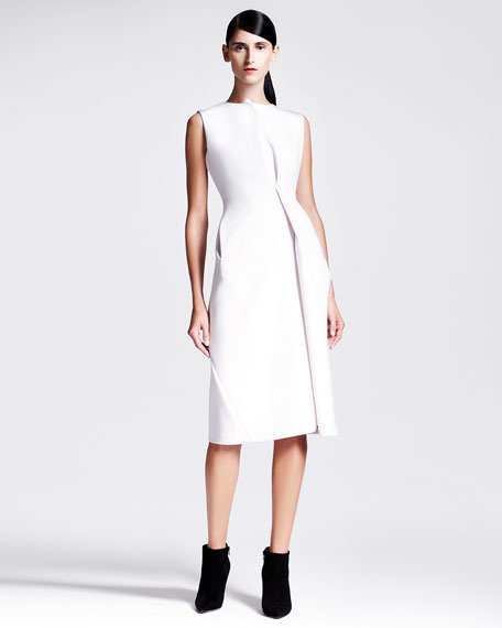 Sleeveless Asymmetric Drape Scuba Dress, Ivory
