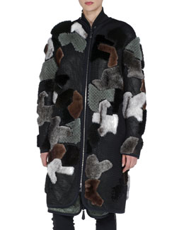 Fendi Mink Fur & Net Zip-Front Coat