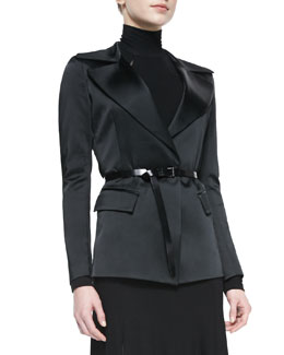 Donna Karan Belted Jacket with Sheer Back, Black