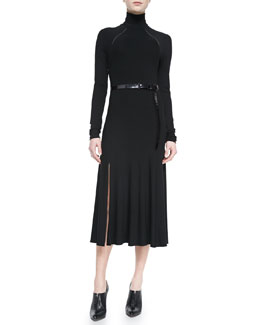 Donna Karan Belted Turtleneck Dress, Black