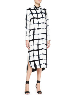 Adam Lippes Long-Sleeve Printed Shirtdress, White/Black