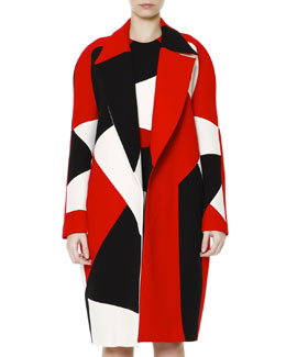 Fausto Puglisi Wide-Lapel Zigzag Colorblock Caban Coat