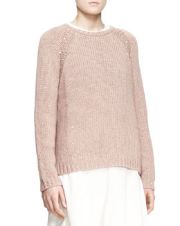 Brunello Cucinelli Sequined Stretch-Cashmere Raglan-Sleeve Sweater