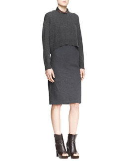 Brunello Cucinelli Cropped Sweater & Sleeveless Dress, Two-Piece Set