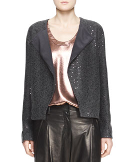 Brunello Cucinelli Sequin Knit Cashmere Cardigan with Folded Lapel