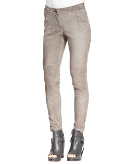 Brunello Cucinelli Fitted Suede Pencil Leg Pants