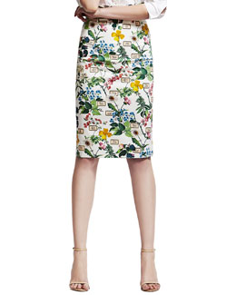 Carolina Herrera Botanical-Print Pencil Skirt, White/Green
