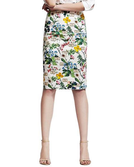 Botanical-Print Pencil Skirt, White/Green
