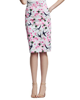 Carolina Herrera Sparrow & Love Letter Printed Pencil Skirt, Pink/Multi