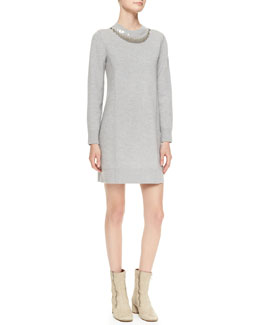 Marc Jacobs Sequined-Neck Sweaterdress
