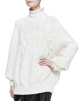 Oscar de la Renta Dolman-Sleeve Cable Sweater
