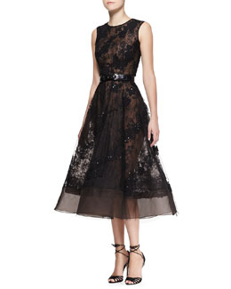 Oscar de la Renta Sleeveless Sheer Lace Beaded Dress