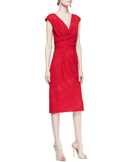 Oscar de la Renta Cap-Sleeve Cross-Waist Sheath Dress
