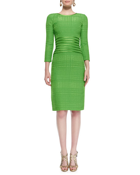 3/4-Sleeve Ribbon-Waist Sheath Dress