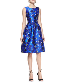 Oscar de la Renta Sleeveless Rose-Print Dress