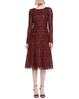 Oscar de la Renta Long-Sleeve Cutout-Lace Dress