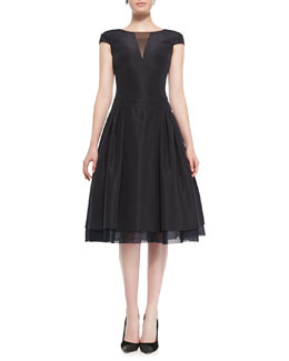 Oscar de la Renta Cap-Sleeve Silk Faille Cocktail Dress